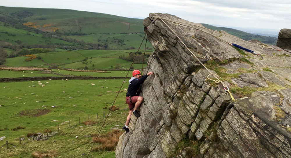 Challenging Rock Climb in the Peak District