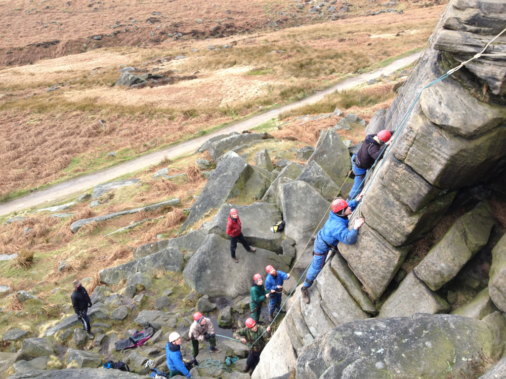 Group Rock Climbing in the Peak District