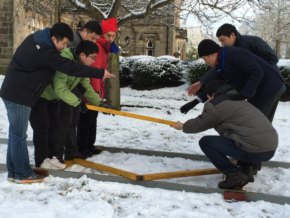 Winter Team Building Task in the Snow